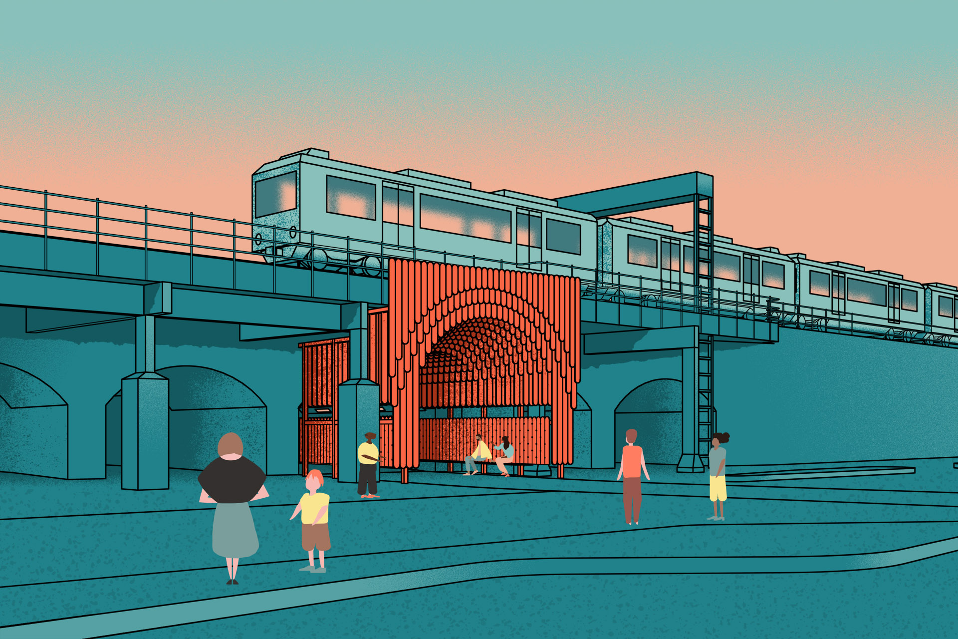 Nine Elms Archways - View from New Covent Garden Market