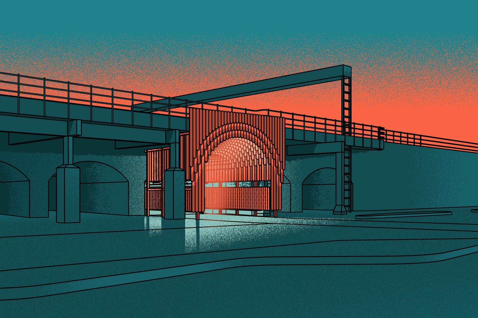 Nine Elms Archways - Nighttime View